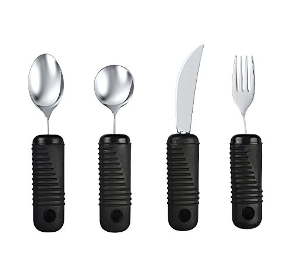 BodyHealt 4 Piece Adaptive Utensil Set - 1.5 in Ribbed Rubber Handles - Latex Free - Arthritis Aid Silverware Set for Parkinson's - Easy Grip for Shaking, Elderly & Trembling Hands