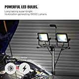 VonHaus Two-Head 10000 Lumen LED Work Light with Detachable Metal Lamps, Metal Telescopic Tripod Stand, Rotating Waterproof Lamps and 8.2Ft Power Cord - Turn On and Off at the Power Outlet Only