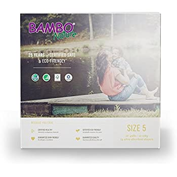 Bambo Nature Baby Diapers Classic, Size 5, 54 Count (2 Packs of 27)