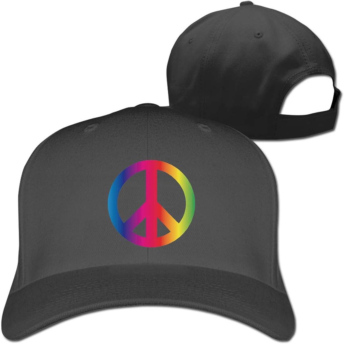 Rainbow Peace Sign Pride Fashion Adjustable Cotton Baseball Caps Trucker Driver Hat Outdoor Cap Black