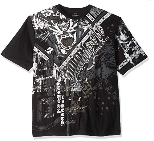 (Southpole Men's Short Sleeve Graphic Tee Collection, Black Tiger, 4XB)