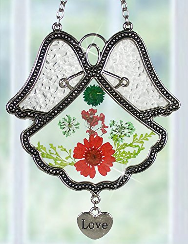 Love Angel Suncatcher Silver Metal & Glass with Pressed Flower Wings & Hanging Heart Shaped Charm - 4.5 Inch