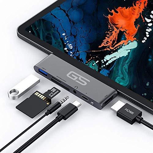 [해외]USB C Hub for iPad Pro 2018-2019 11 & 12.9 inch [6 in 1] 4K HDMI Adapter USB 3.0 SD & Micro SDTF Card Reader 3.5mm Headphone Jack and Type C Power PD 60w Charging | Magnetic Holder (Space Gray) / USB C Hub for iPad Pro 2018-2019 11...