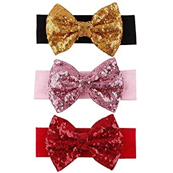 BAOBAO Kid Girl Glitter Shiny Sequined Bow Turban Knot Hair Band Headband (black+pink+red)