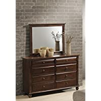 Roundhill Furniture Concord Solid Wood Construction Dresser and Mirror, Cherry