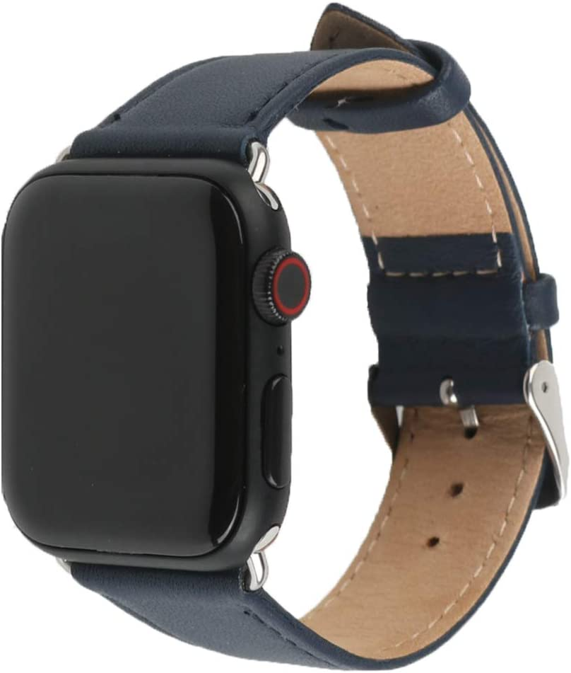 Euler Top Layer Calfskin Strap Genuine Leather watch band Compatible with Apple Watch Band for iWatch Series 5 4 3 (Dark blue, 42/44mm)