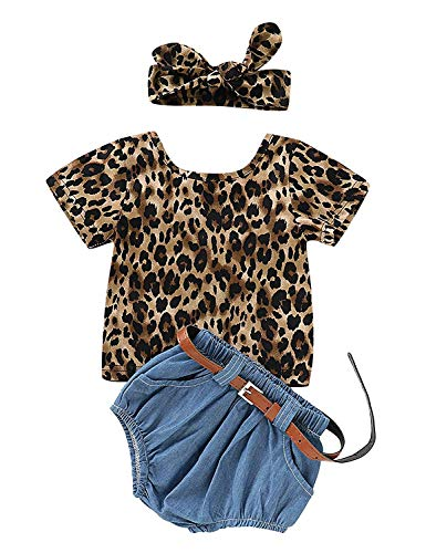 Tank Leopard Belt - YOUNGER TREE Kids Toddler Baby Girls Shorts Set Leopard Print Backless T-Shirt Tank Top + Denim Shorts Summer Clothes Outfits (Leopard Print, 12-18 Months)