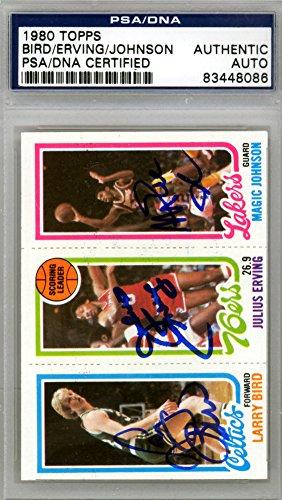 Larry Bird, Julius Dr. J Erving & Magic Johnson Signed Autograph 1980 Topps Rookie Card - PSA/DNA (1980 Larry Bird)