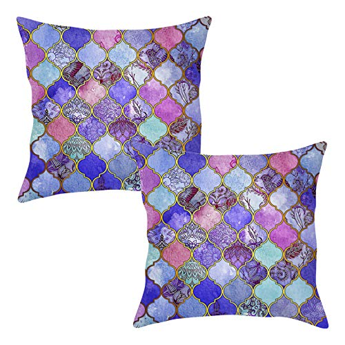 Bed Painted Set Hand (JOEJISN Throw Pillow Covers Cotton Linen Cushion Cover Cases Sofa Home Decor 18x 18 Inch Set of 2, Manual Hand Painted Colorful Geometric Trellis Double-Sided Pattern)