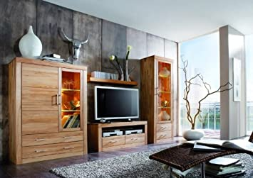 Wohnwand Anbauwand Wohnzimmer Kernbuche massiv: Amazon.de: Küche ...