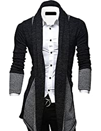 Cruiize Mens Open Front Draped Shawl Collar Longline Cardigan Sweater