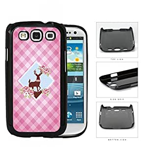 Pink Plaid Pattern with Cute Floral Deer Diamond Center Design Samsung Galaxy S3 I9300 Hard Snap on Plastic Cell Phone Case Cover