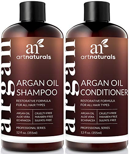 (ArtNaturals Organic Moroccan Argan Oil Shampoo and Conditioner Set - (2 x 12 Fl Oz / 355ml) - Sulfate Free - Volumizing & Moisturizing - Gentle on Curly & Color)