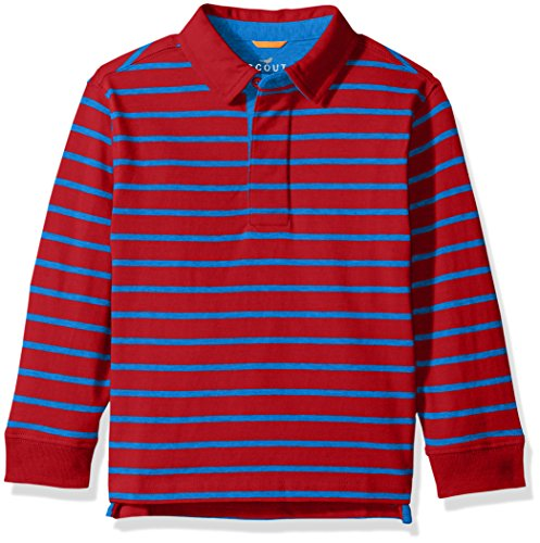 Scout + Ro Little Boys' Stripe Rugby Shirt, Red/Electric Blue, 4 (Jersey Long Sleeve Polo Shirt)