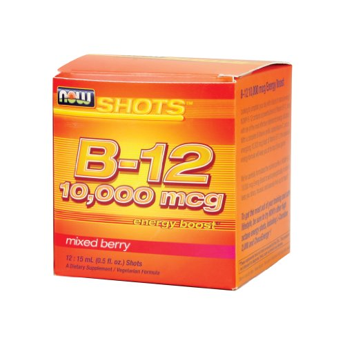 Now Foods B-12 10000 mcg - 12: 15 mL (0.5 fl. oz.) Shots 4 Pack by Now Foods