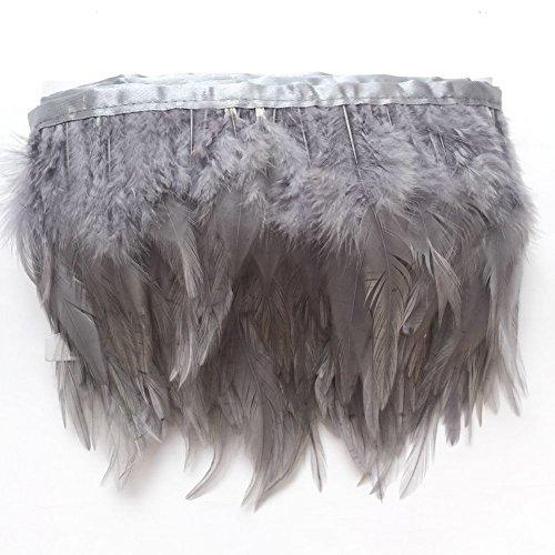 Sowder Rooster Hackle Feather Fringe Trim for Custume Dress Decoration Pack of 5 Yards(Grey) -