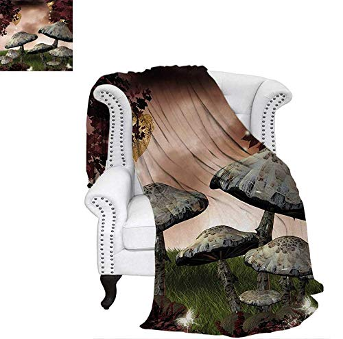 "Throw Blanket Enchanted Fairytale Forest Scenery with Mushrooms and Fairies Magical Dark Image Warm Microfiber All Season Blanket for Bed or Couch 80""x60"" Maroon Grey"