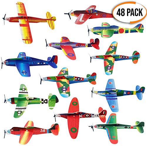 The Twiddlers 48 Paper Toy Planes - Flying Foam Airplane Glider Kit in 12 Assorted Designs - for Kids Birthday Party Supply   Goodie Bag Fillers   Classroom Prize   Lucky Dip Favors
