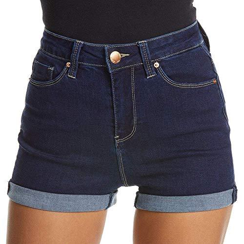 YMI Juniors' No Muffin Top Roll Cuff High-Rise Denim Shorts (S37 Dark, 11)
