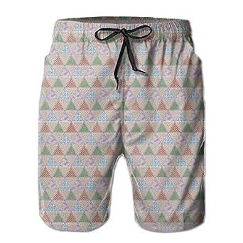 K0k2t0 Men Swim Trunks Beach Shorts,Japanese Geometric Triangles with Quilt Motifs Illustration M