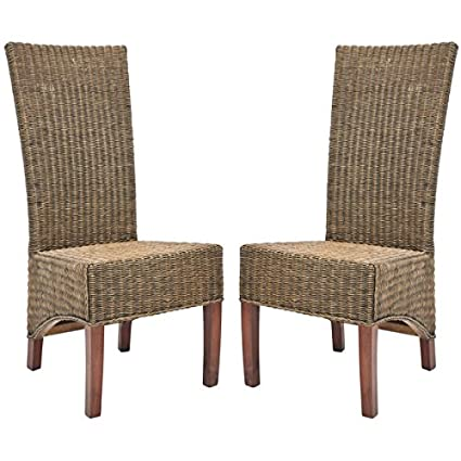 Lovely Safavieh Home Collection Aaron Medium Honey/Black, Wicker Side Chair, Set  Of 2