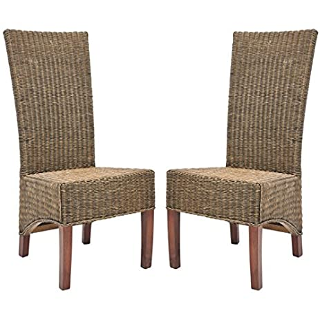 Safavieh Home Collection Aaron Medium Honey/Black, Wicker Side Chair, Set  Of 2