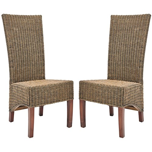 Safavieh Home Collection Aaron Medium Honey/Black, Wicker Side Chair, Set of 2 (Chair Parsons Rattan)