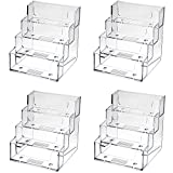 TecUnite 4 Tier Clear Business Card Stand Card Holder Desktop Card Stand Card Organizer for Desk or Counter Display, 4 Pocket 240 Capacity, 4 Pack