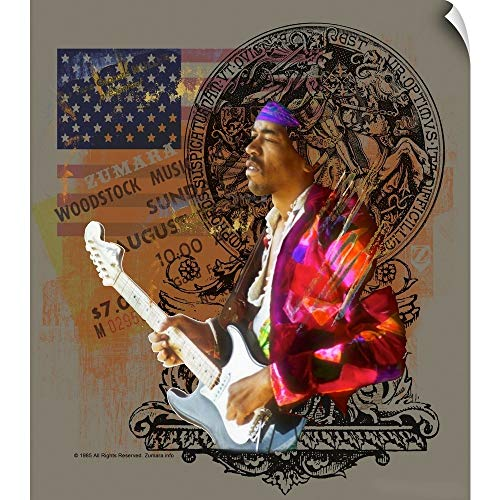 CANVAS ON DEMAND Jimi Hendrix Flag Wall Peel Art Print, 43