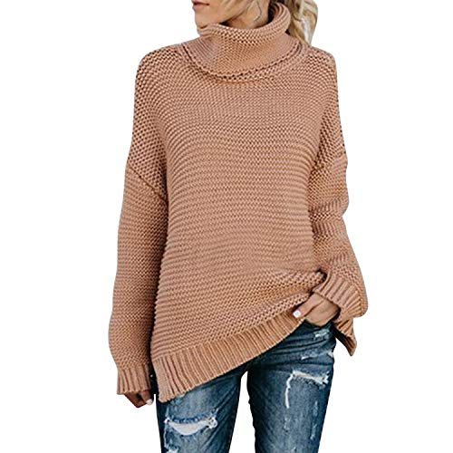semen Damen Pullover Strickpullover Fashion Rollkragen Warm