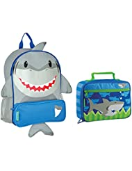 Stephen Joseph Boys Sidekick Shark Backpack and Lunch Box for Kids