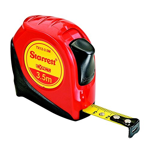 Metric Pocket Tape Measure - Starrett Exact KTX12-3.5M-N ABS Plastic Case Red Measuring Pocket Tape, Metric Graduation Style, 3.5m Length, 12.7mm Width, 1.58mm Graduation Interval