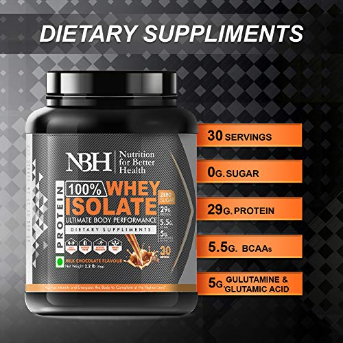 NBH 100% Whey Isolate Protein powder dietary supplements 2.2lb,1kg Milk Chocolate Flavor