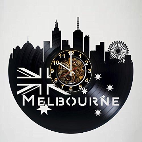 Melbourne - Australian Victoria - Skyline Vinyl Record Wall Clock - Artwork gift idea for birthday, christmas, women, men, friends, girlfriend boyfriend and teens - living kids room nursery