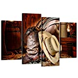 western wall decor  - 4 Pieces Canvas Prints Wall Art American West Rodeo Cowboy White Straw Hat on Leather Rancher Roper Boots Vintage Style Stretched Gallery Canvas Wrap Giclee Print Ready to Hang
