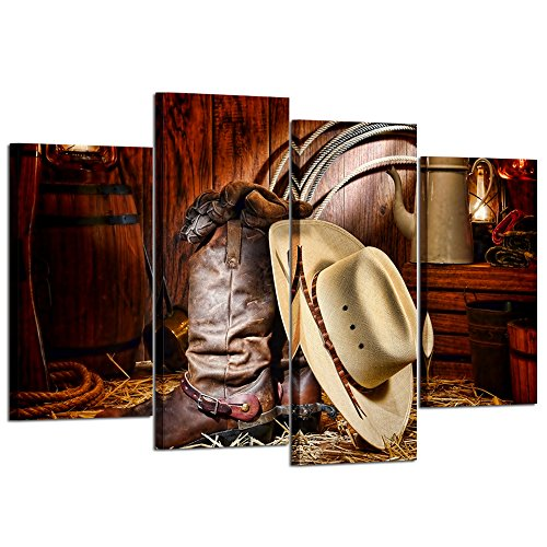 (Kreative Arts - 4 Pieces Canvas Prints Wall Art American West Rodeo Cowboy White Straw Hat on Leather Rancher Roper Boots Vintage Style Stretched Gallery Canvas Wrap Giclee Print Ready to Hang)