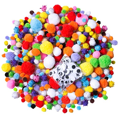 Acerich 1400 Pieces Assorted Pom Poms, Including 1100 Pcs Multicolor Pom Pom Balls Art Crafts, 4 Sizes Wiggle Googly Eyes, 200 Pcs Glitter Pompoms for DIY Creative Decorations (1400 Pcs(Multicolor1))