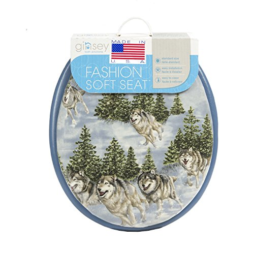 Vinyl Toilet Seat (Ginsey Standard Soft Toilet Seat with Plastic Hinges, Blue Wolves)