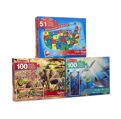 Melissa & Doug Floor Puzzle USA Map, Under The Sea, Safari Puzzle (3 Pack)
