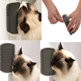 Pets Corner Market Pet Cat Brush Comb Play Toy Plastic Scratch Bristles Arch Self-Groomer Massager Scratcher With Catnip Nailed to Wall (Medium, Grey)