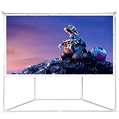 100 inch Projector Screen Outdoor Indoor, Portable Projection Movie Screen Diagonal 16:9 HD Foldable PVC White with Stand Tripod, Hanging Design for Home Theater Cinema Video Showing Outside Backyard