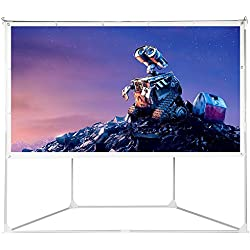 2-in-1 Portable Projector Screen, 100 inch Outdoor Indoor Projection Screen for Movies Diagonal 16:9 HD Foldable PVC White with Stands and Hanging Hole Grommets for Home Theater Party Camping