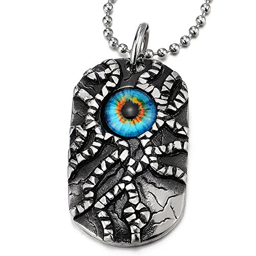 Eye Dog Tag - Protection Evil Eye Dog Tag Pendant Necklace for Men Women Steel Silver Black with 30 in Ball Chain
