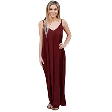 YOUBan Damen Kleid Hippie Boho Kleid Cocktailparty Kleid Strand langes Kleid  Maxikleid Mädchen Sommerkleid Sexy Mode Festliche Kleider Minikleid (M, ... 3de2b17956