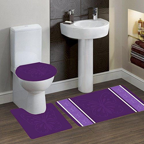 GorgeousHomeLinen (#7) 3-Pieces Bathroom Bath Rubber Backing Non-Slip Contour Mat Rug Set with Toilet Lid Cover (Butterfly Purple)