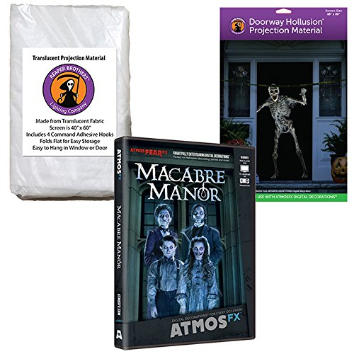 AtmosFEARfx Macabre Manor Halloween Digital Decoration DVD with Hollusion Doorway + Reaper Bros Window Projection Screens