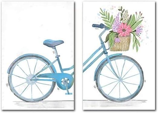 Cuadro en lienzo Cartel nórdico Simple Pequeño Bicicleta fresca ...