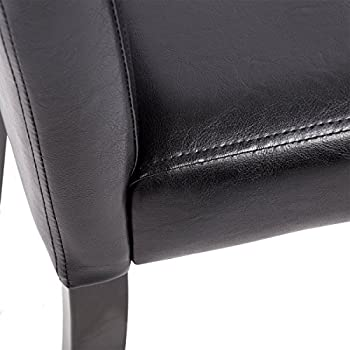 Set of 4 Urban Style Leather Dining Chairs With Solid Wood Legs Chair