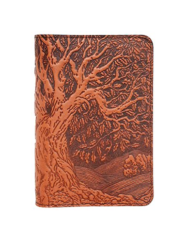 Oberon Design Tree of Life Pocket Notebook Cover, Fits Many 5.5 x 3.5 Inch Notebooks, Embossed Genuine Leather, Saddle Color, Made in The USA