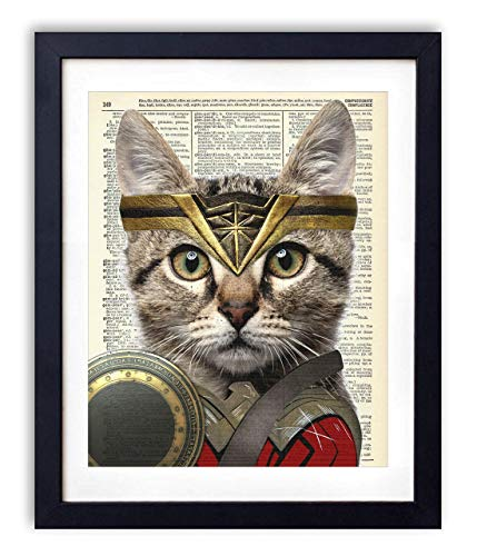 Wonder Woman Cat, Justice League Superhero Kids Bedroom Wall Decor, Vintage Wall Art Upcycled Dictionary Art Print Poster For Kids Room Decor 8x10 inches, Unframed -